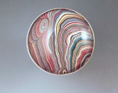 Fordite- Detroit Agate- Super Swirly- Multi Color- Amazing Pattern- Michigan Made- Hammered Sterling Silver- Fordite Statement Ring