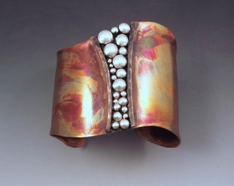 Copper Cuff - Powerful Goddess- Tribal Rustic Earthy- Boho Chic- Warrior- Mixed Metal- Signature RedPaw- Statement Cuff Bracelet