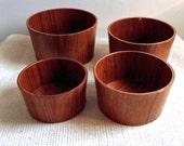 Danish Modern Teak Stacking Bowl Set.  Vintage Mid Century, Scandinavian Modern. Eames ERA.  Vintage 1960 wood set.