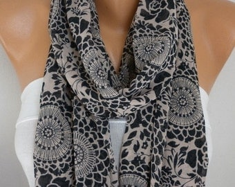 Mandala Black Roses Chiffon Infinity Scarf,fall Scarf,Circle,Loop Scarf, Gift - for her - mom - Women's Fashion Accessories,christmas gift