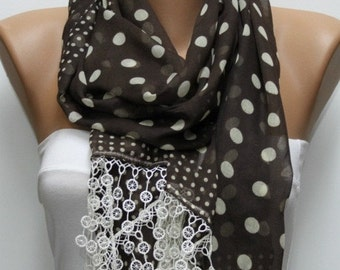 Brown Polka Dot Cotton Scarf Christmas Gift Fall Shawl Cowl Lace Bridesmaid Gift Gift Ideas For Her  Women Fashion Accessories