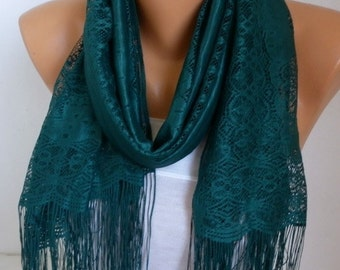 Emerald Green Tulle Scarf, Spring Summer Scarf, Cowl Bridesmaid Bridal Accessories Gift Ideas for Her Women Fashion Accessories