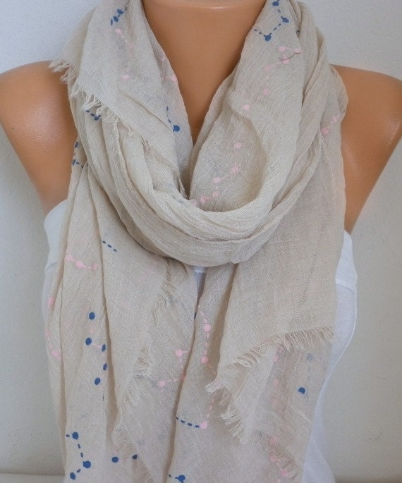 Neutral Beige & Pink Cotton Soft Scarf,Fall, Bridal Accessories, Bridesmaid Gifts, Gift Ideas For Her, Women Fashion Accessories, Pareo
