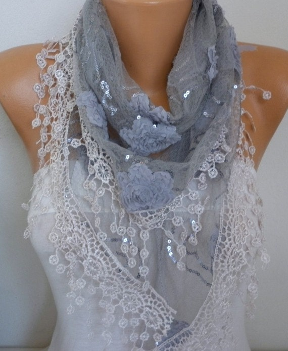 Gray Floral Sequin Scarf,Wedding Scarf, Bohemian,Cowl  Bridesmaid Gift Gift Ideas For Her Women's Fashion Accessories