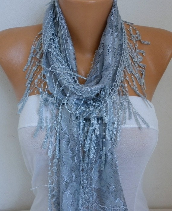 Silver Gray Lace Scarf, Summer Shawl Scarf, Cowl Scarf, Bridal Accessories, Bridesmaid Gift, Gift Ideas For Her, Women Fashion Accessories
