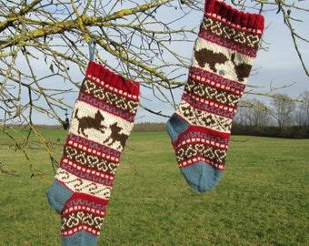 Knitting Pattern Kittens Christmas Stockings and Stranded Knitting Fair Isle Holiday Santa Sock Knit Your Own