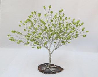 Peridot Tree of Life, Peridot and Silver Seed Bead Tree Centerpiece, Green Tree Wedding Cake Topper, Peridot Bonsai Tree Decor