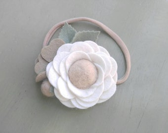 Wool Felt Pom Rose Headband or Hair clip- Ivory and taupe Newborn Baby Photoprop - Infant - Toddler - Baby Flower Headband