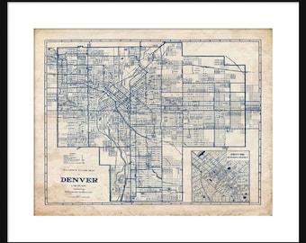 Denver Map 1944 Street Map Vintage Blueprint  Grunge Print Poster