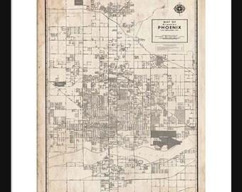 Phoenix Arizona Map - Street Map Vintage Print Poster - Grunge