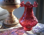 Vintage Deep Cranberry Glass Double-Ruffle Vase