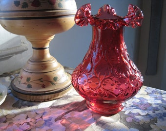 Vintage Deep Cranberry Glass Double-Ruffle Vase