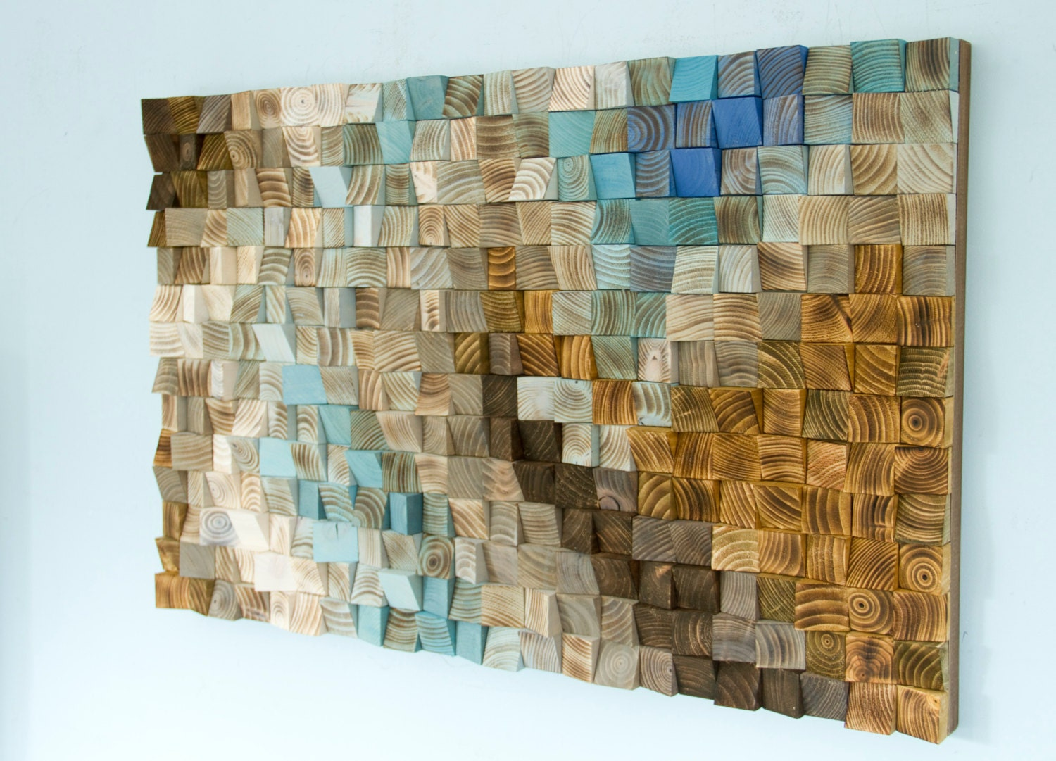 Teal And Brown Wall Art wood wall art mosaic, office wall decor, geometric art, 24 x 36