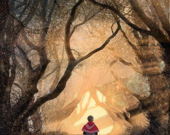 To Grandma's..Archival Print, Fairy Tale, Red Riding Hood, Decor, Forest, Girl, Woodland Scene