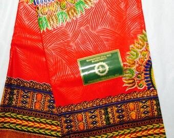 Quality Red Dashiki Fabric/ Dashiki Print/ African Fabric/ African skirt/ African print/ Supplies/ Sold per Yard