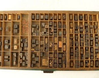 Vintage Letterpress Drawer with 218 Wood Letterpress Letters (c.1930s) - Industrial Decor, Printing Supplies