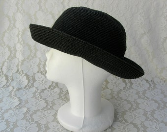 Black Summer Hat, paper/cotton/polyester, vintage, sz S/M