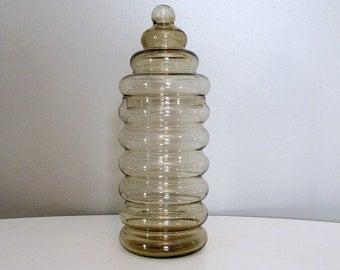 Vintage Holmegaard Primula Jar with Lid by Jacob Bang, Danish Bubble Jar, Mid Century Modern Brown Smoke Glass