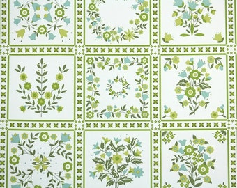 Retro Wallpaper by the Yard 70s Vintage Wallpaper - 1970 Green and Blue Floral Tiles