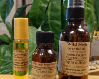 APHRODISIAC Essential Oil Blend ~ Natural Aromatherapy / Therapeutic Use - Full Strength, Spray, Roll On: Exclusively by Wild Herb