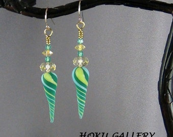 """Lampwork Glass Twisted Daggers, Green, Sky Blue, Yellow, 2.5"""" long - Hand Crafted Artisan Jewelry"""