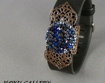 Fit Bit Slide, Jewelry - Swarovski Bermuda Blue Rocks Crystal, Natural Brass Clover Petal Filigree, Wrapped  - Hand Crafted Artisan Jewelry