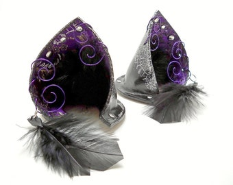 Fancy Purple Silver Black Leather Jeweled Fox Ears Kitsune Inumimi Cosplay Fantasy Goth Fashion Accessory