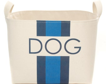 Dog Canvas Storage Basket, Blue/Navy Stripes