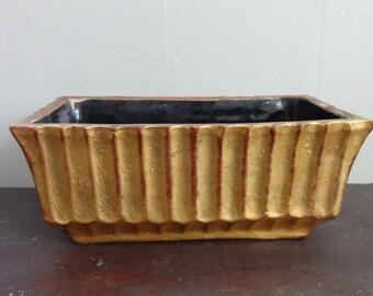 60's Vintage Gold Pottery Vase Planter Box / Decor