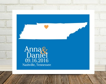 Tennesse Map Wedding Gift Personalized Tennesse Poster Tennessee Print Housewarming Gift Holiday Gift Christmas Gift Valentines Day Gift