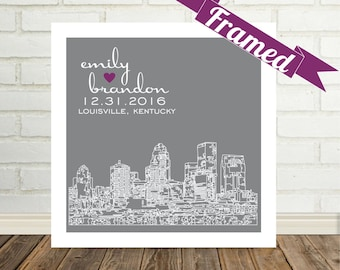 Personalized Wedding Gift City Skyline FRAMED Print Any Location Available Unique Engagement Gift for Couple Unique Wedding Gift