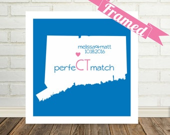 CONNECTICUT State Map FRAMED Print Wedding Gift Ideas State of Love Connecticut Wedding Art Personalized Engagement Gift Valentines Day Gift