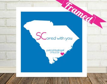 SOUTH CAROLINA Map Print Personalized Engagement Gift Framed Art State Map Unique Engagement Gift Valentines Day Gift for Him Gift for Her