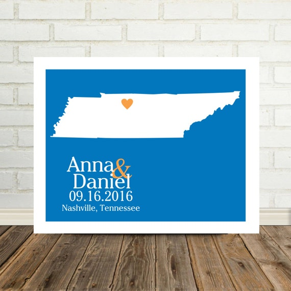Tennesse Wedding Gift Personalized Tennesse Map Tennessee Print Housewarming Gift Holiday Gift Christmas Gift Valentines Day Gift
