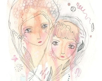 Mother and daughter print, girls illustration, friends art