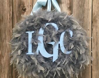 Baby Boy Monogramed Feather Wreath