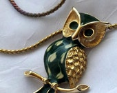 Vintage Forest Green and Cream Enamel Goldtone Owl Pendant 1970s Classic Woodland Friend Adorable Necklace