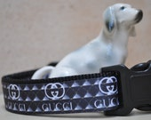 Dog Collar - Poochie - Black and White  -  50% Profits to Dog Rescue