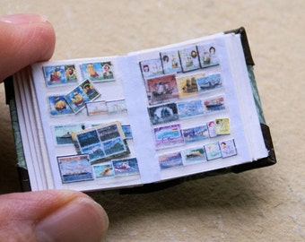 Stamps collector album - a collection of boats - miniature 1:12
