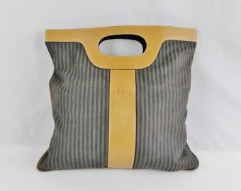 Vintage FENDI FOLDABLE Large CLUTCH Tote Striped canvas and Leather Tobacco Zuca design