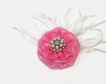 Rose Pink Flower Embellishment Supply, DIY Embellishment, Crafting Supply, Pink Fabric Flower With Rhinestone Pearl Center