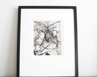 "SUMMER SALE - 40% OFF. use code { EOS40}. Printmaking . Abstract Etching  . Black, White + Tan: ""Converge"". Print Size 12"" x 14"" . Unframed"