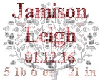 Baby Birth Record Cross Stitch Pattern/You are a Child of the Universe/Cross Stitch Tree/Cross Stitch Baby Birth Record/Baby Birth Record