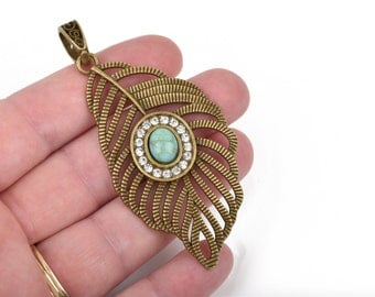 """Large Bronze FEATHER Pendant, Rhinestones and Faux Turquoise Cabochon, 3"""" long, chb0465"""