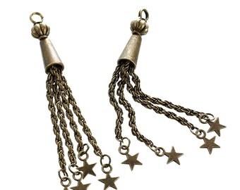 "2 Bronze STAR Tassel Pendant Charms, gold plated metal, 3.25"" long, chb0425"