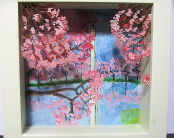 DC Cherry Blossoms at the Washington Monument painted Glass Display Box
