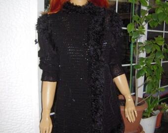 SALE black cardigan/romantic coat double breasted asymmetrical handmade crochet coatigan goth chic ready to ship by goldenyarn