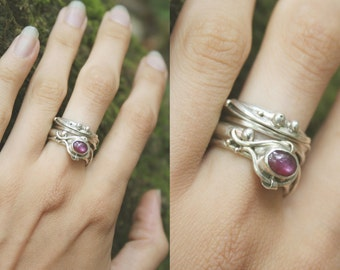 Purple Star Constellation Siver Ring