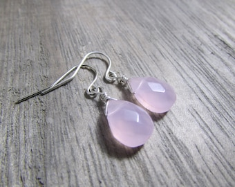 Soft pink earrings Milky pink Glass Teardrop Earrings Simple everyday minimalist pink jewelry