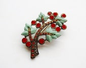 Little Nemo Art Deco Mint Green Red Rhinestone Brooch